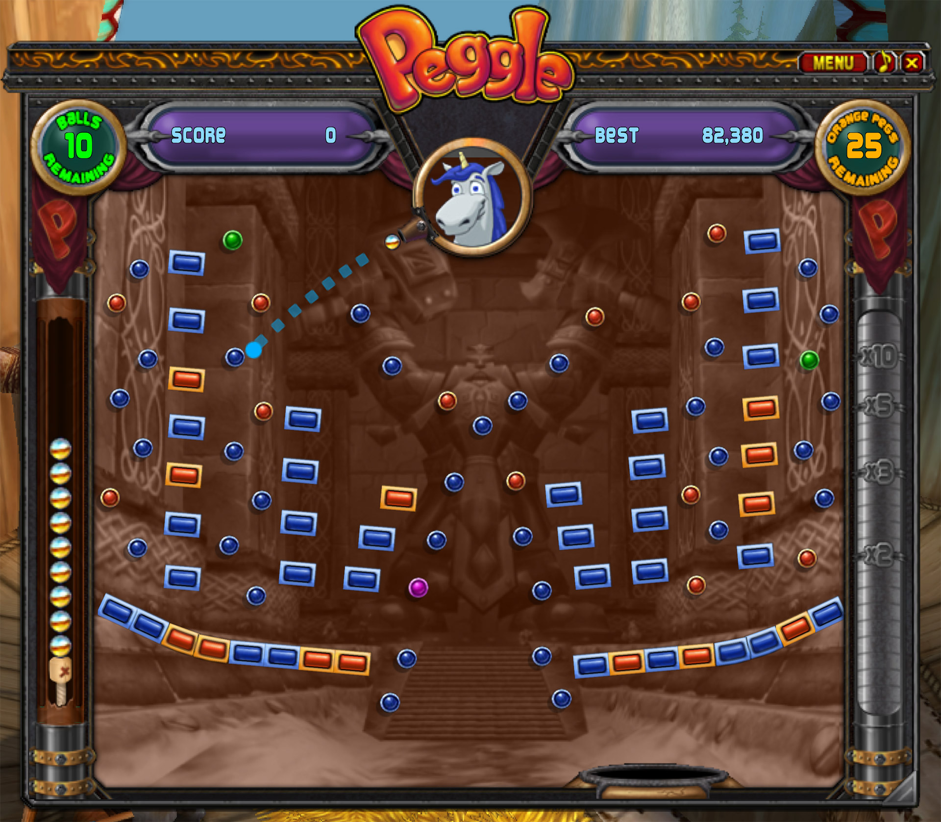 Fenêtre du mini-jeu casse-bric Peggle.