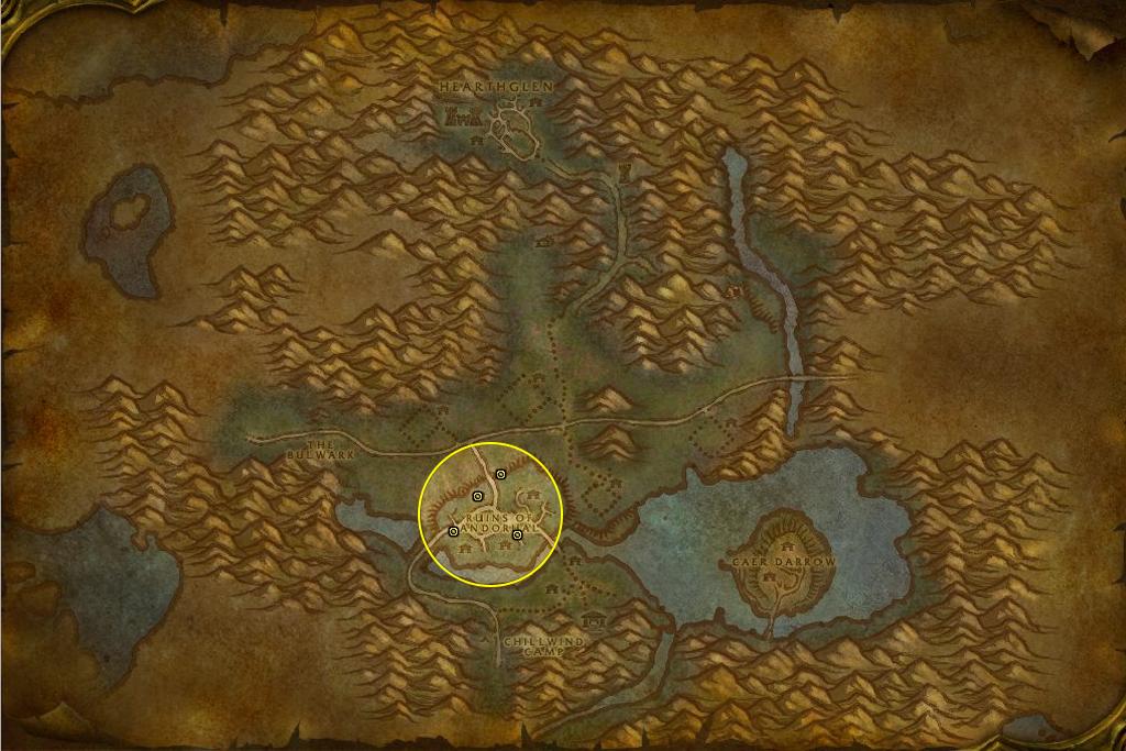 Localisation des tours à marquer dans les ruines d'Andorhal.