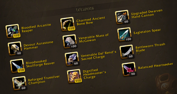 objets heritages : les nouveaux bonus disponibles a shadowlands