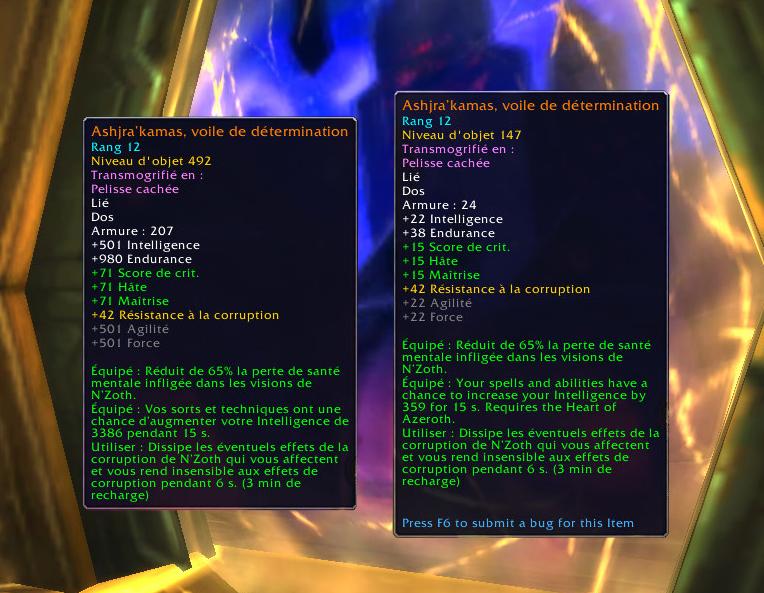 Renforcement draconique : à Battle for Azeroth (gauche) et à Shadowlands (droite)