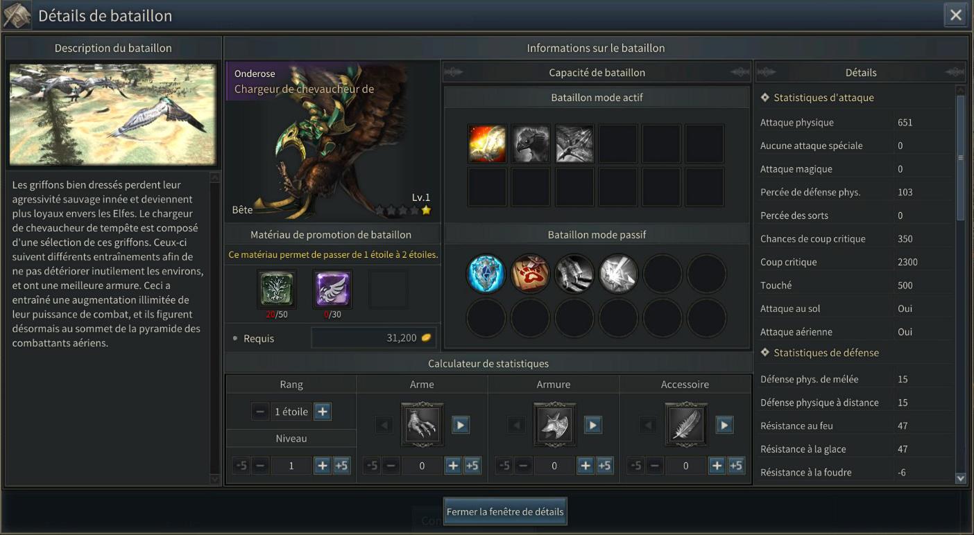 Statistiques d'un bataillon dans Kingdom Under Fire 2