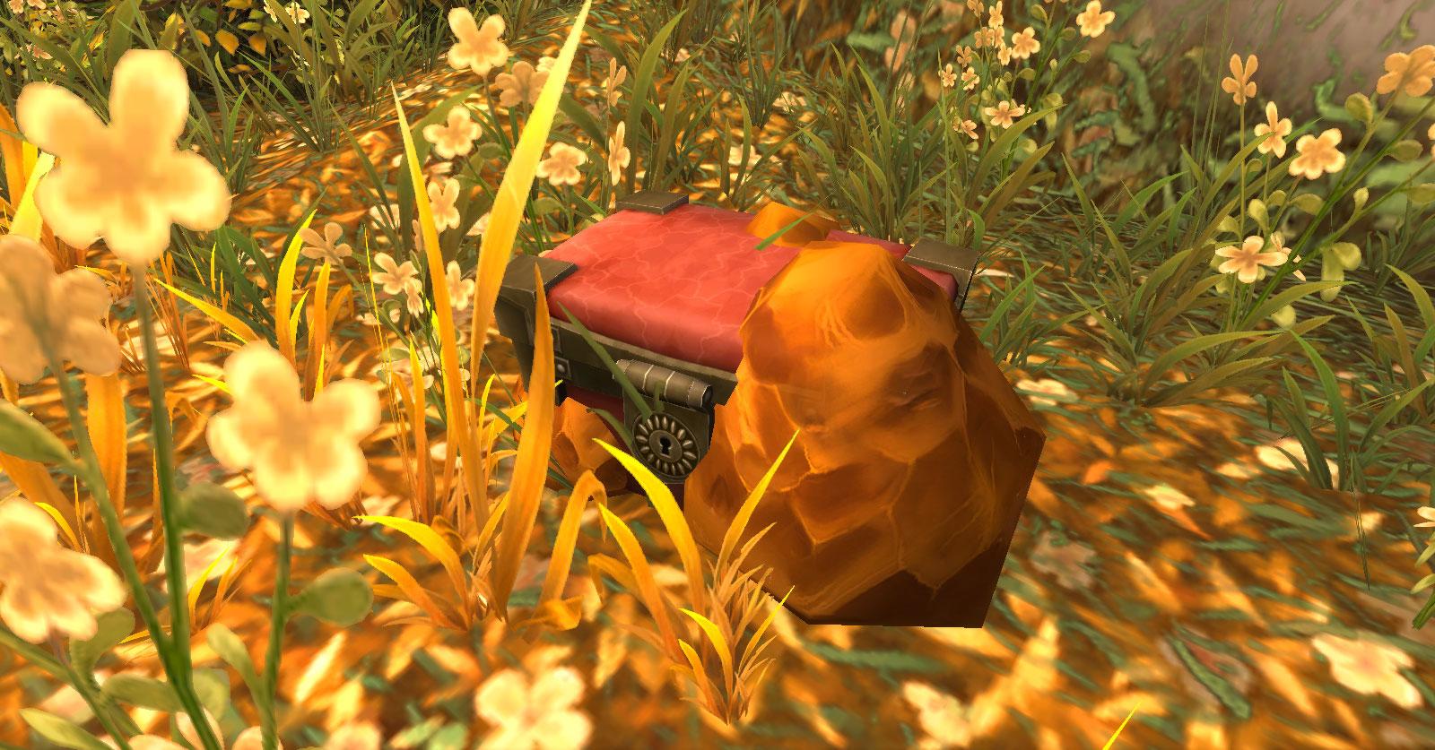 Un coffre recouvert d'ambre'
