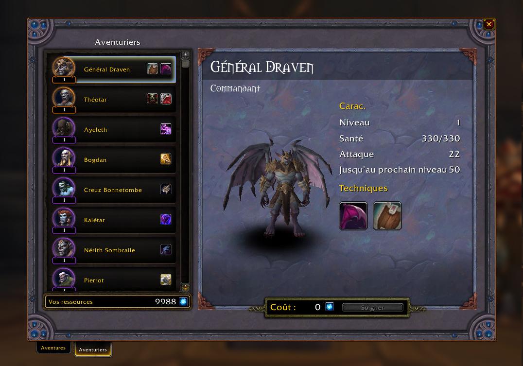 Shadowlands : Aventurier Général Draven de la congrégation des Venthyr
