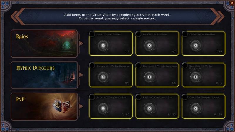 Chambre forte : Objectifs hebdomadaires (crédit image : Baratheus)
