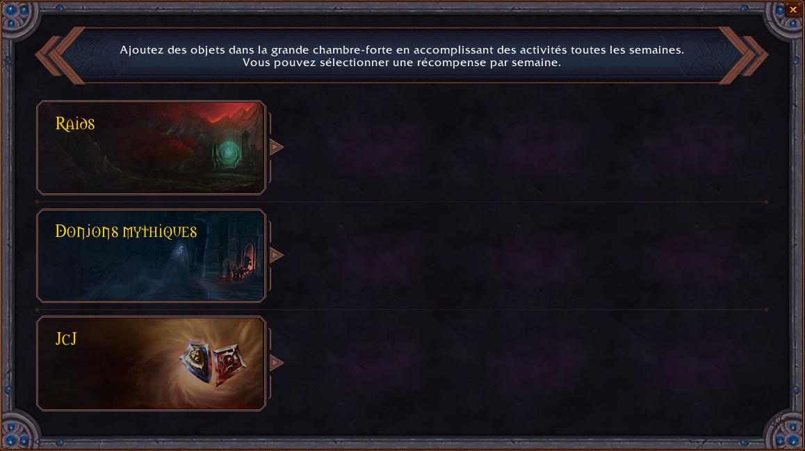 Shadowlands : La grande chambre-forte permet d'accomplir des objectifs hebdomadaires et de recevoir des récompenses