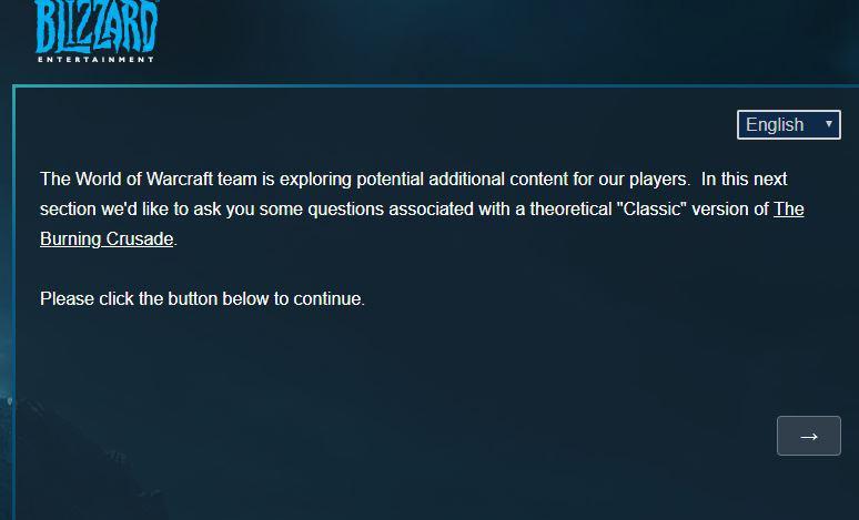Questionnaire envoyé à certains joueurs de WoW concernant une hypothétique version Classic de BC