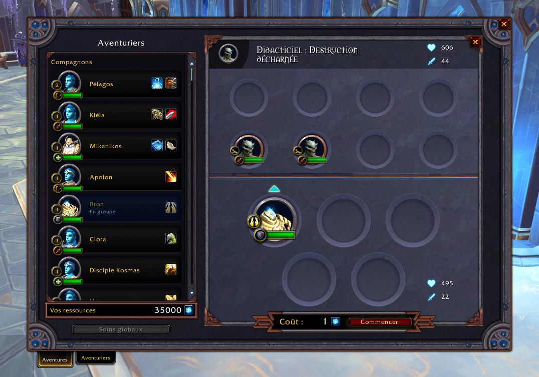 Interface d'une mission dans Shadowlands