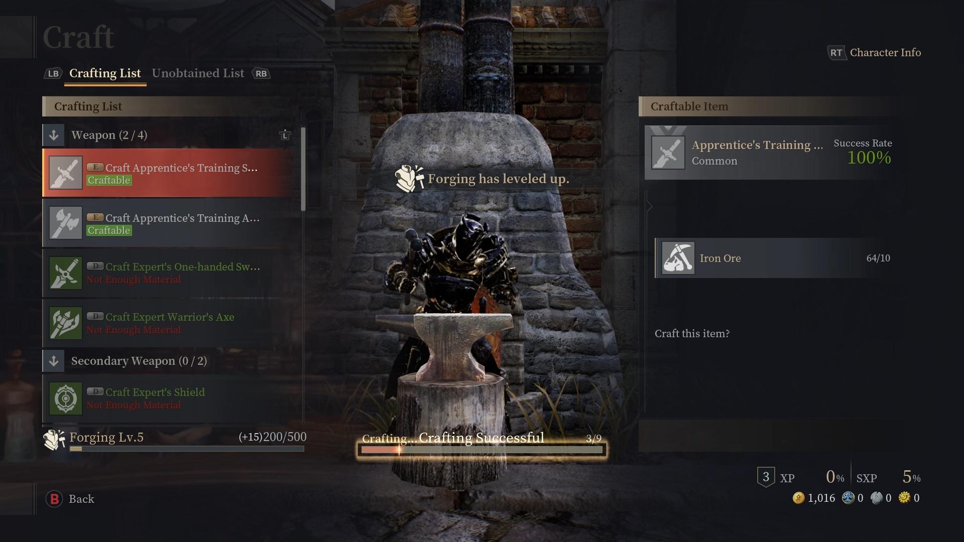 Bless Unleashed : métier de la Forge