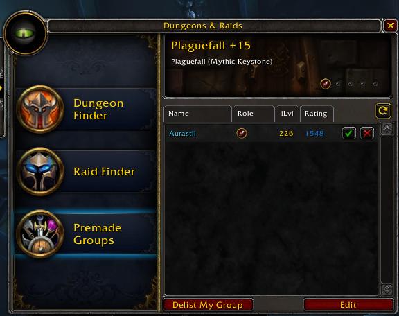 Interface montrant la cote mythique+ globale et niveau d'objet d'un joueur candidat