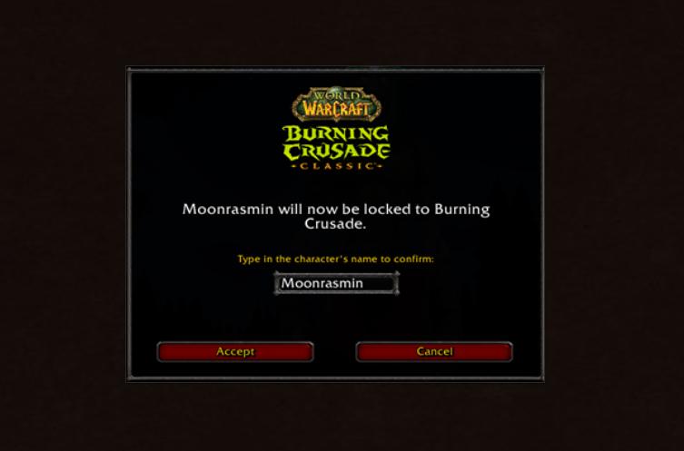 Burning Crusade Classic : confirmez votre choix