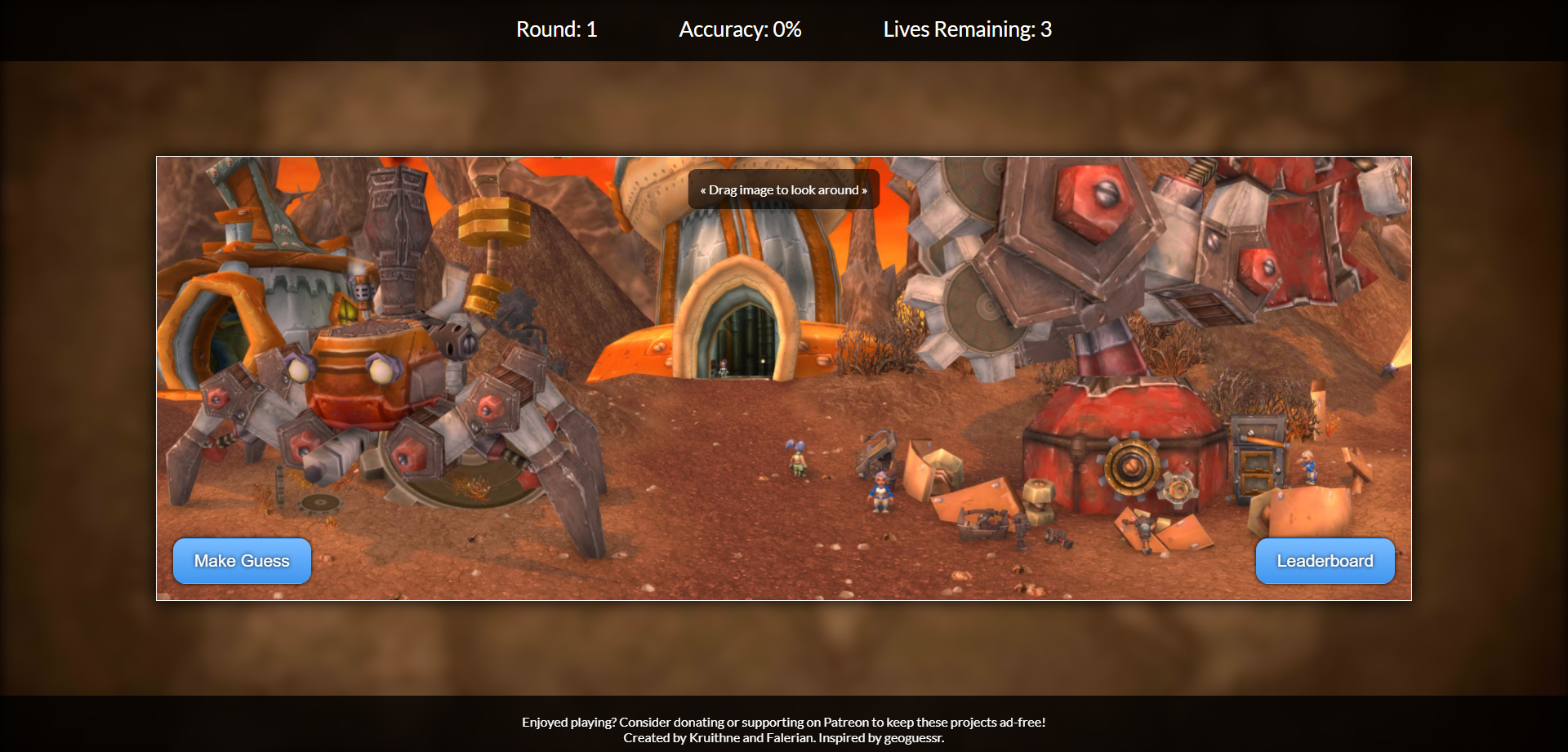 Interface du jeu Where in Warcraft ?