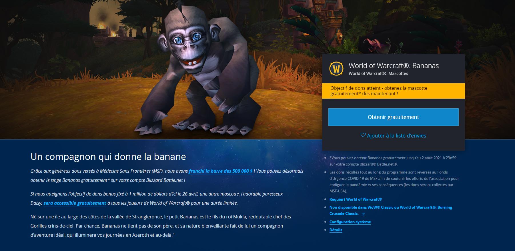 La mascotte Bananas peut être obtenue en vous rendant sur la boutique en ligne de Blizzard