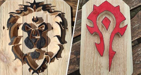 des decorations en bois de l'alliance et de la horde par creabois