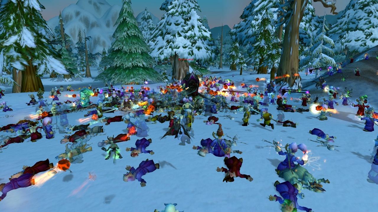 Des centaines gnomes face à un tauren