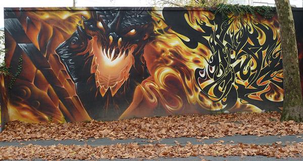 Un super graffiti Aile de Mort à Chambéry