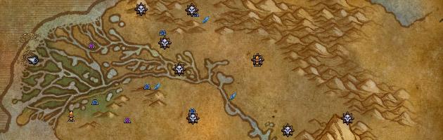 La carte de la zone indique l'emplacement des campements de la Légion