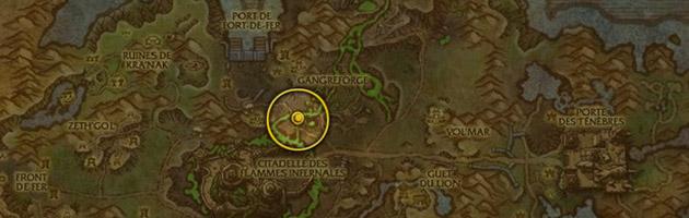 Vous pouvez trouver le Sang infâme de Draenor à l'ouest de la gangreforge