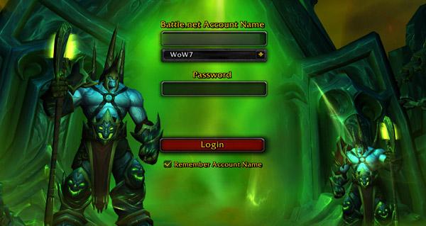 L'écran de connexion de Legion