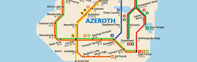 Les principales stations de métro d'Azeroth