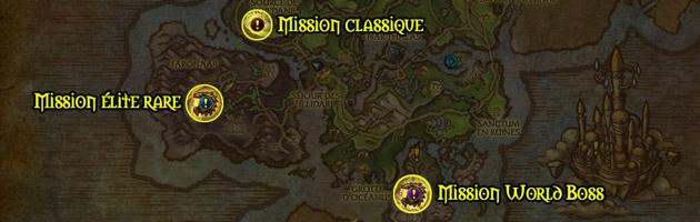 Chaque icône représente un type de mission d'expédition dans les Îles brisées