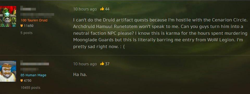 Un joueur ne peut pas commencer Legion car il est haï auprès de Reflet de lune