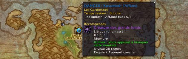 Après avoir validé toutes les étapes, l'expédition Kosumoth l'Affamé apparaît sur votre carte