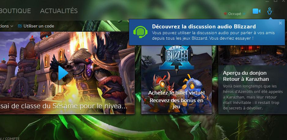 Discussion audio Blizzard